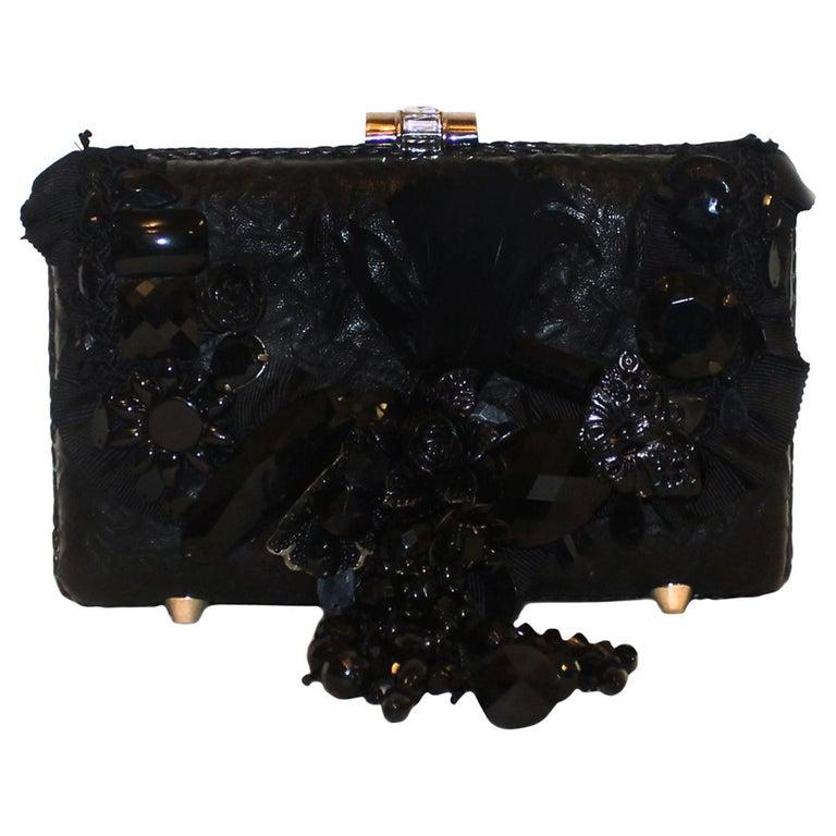 Mary Frances Black Beaded Clutch Bag For Sale