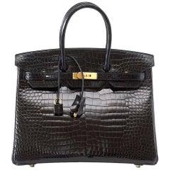 Hermes Birkin 35 schwarze Porosus Krokodil Tasche mit Gold
