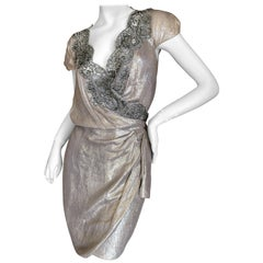 Christian Dior by Gianfranco Ferre Bead Embellished Metallic Wrap Dress