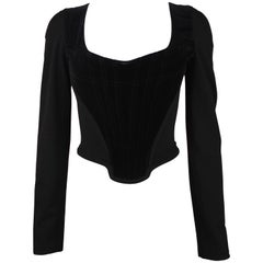Vivienne Westwood Black Velvet Corset with Long Sleeves, C. late 90's, Size US 6
