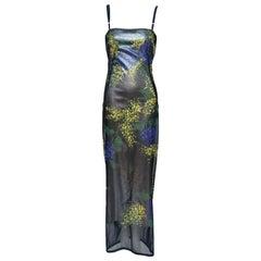 Dolce & Gabbana Hand Painted Mesh Evening Dress   Autumn-Winter 1998  Mint