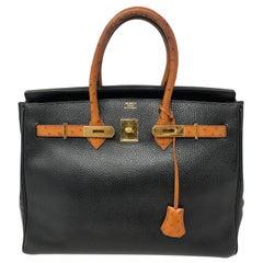 Hermes Birkin 35 Black with Ostrich Leather Handles