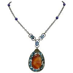 Circa 1920s Chinese Enameled Carnelian Pendant Necklace