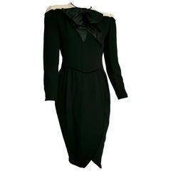 VALENTINO black wool crêpe and silk, white shoulders velvet hems dress - Unworn