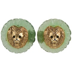 Kalinger Paris Signed Clip on Earrings Aqua Green Resin and Gilt Metal Lion Head