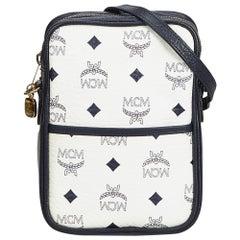 MCM White Visetos Leather Crossbody Bag