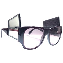 Vintage Chanel 5202 Burgundy Hidden Mirror Quilted Sunglasses Made In France