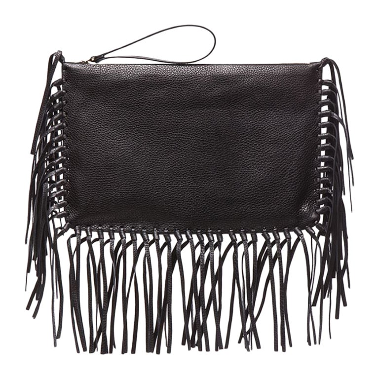 Valentino Rockee Fringe Leather Clutch