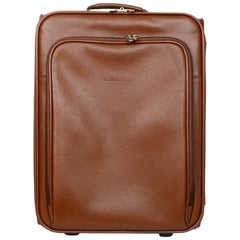 Longchamp CURRENT Cognac Cowhide Leather Le Foulonne Carry-On Wheeled Suitcase