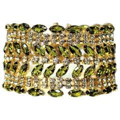 Circa 1960s Bright Green Marquis Cocktail Bracelet