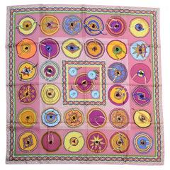 Hermes Pink/Multicolor Collector's Belles Du Mexique 90CM Silk Scarf