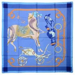 Hermes Blue/Orange Tout En Carre 90CM Silk Scarf