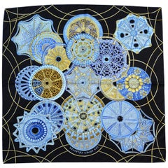 Hermes Black/Blue Collector's Les Domes Celestes by Annie Faivre 90CM Silk Scarf