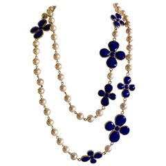 French Pate de Verre Blue Taupe Pearl Statement Necklace