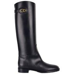 Dior Damen Schwarz Leder Diorable Stiefel Knie hohe