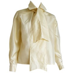 Ines de la FRESSANGE single piece unique design pale yellow silk shirt - Unworn