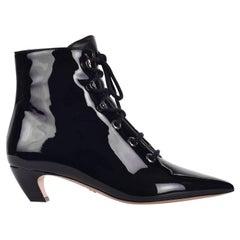 Dior Damen-Dior schwarzem Lackleder Lace Up Stiefel