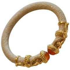 Cristina Sabatini Natural Stingray and Carnelian Bracelet