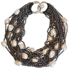 Patricia von Musulin Hematite and Baroque Pearl Twenty Strand Necklace