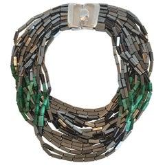 Patricia von Musulin 14 Strand Hematite and Malachite Necklace
