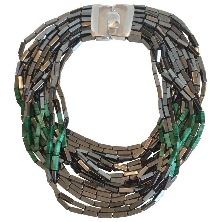 Patricia von Musulin 14 Strand Hematite and Malachite Necklace For Sale