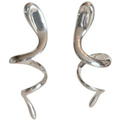 Patricia von Musulin Sterling Silver Snake Clip Earrings