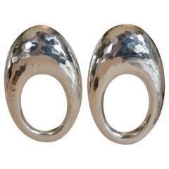 Patricia von Musulin Large Sterling Silver Loop Hoop Clip Earrings