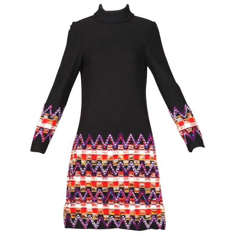1960s Teal Traina Vintage Knit Mod Zig Zag Sweater Dress For Sale
