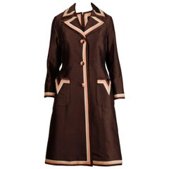 Stunning 1960s Vintage Silk + Wool Pink and Brown Striped Coat + Dress Ensemble