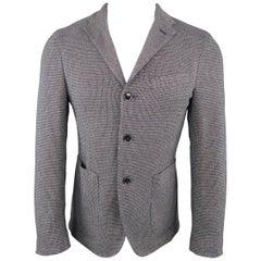 Men's EREDI PISANO 38 Navy Woven Print Cotton Blend Knit Sport Coat