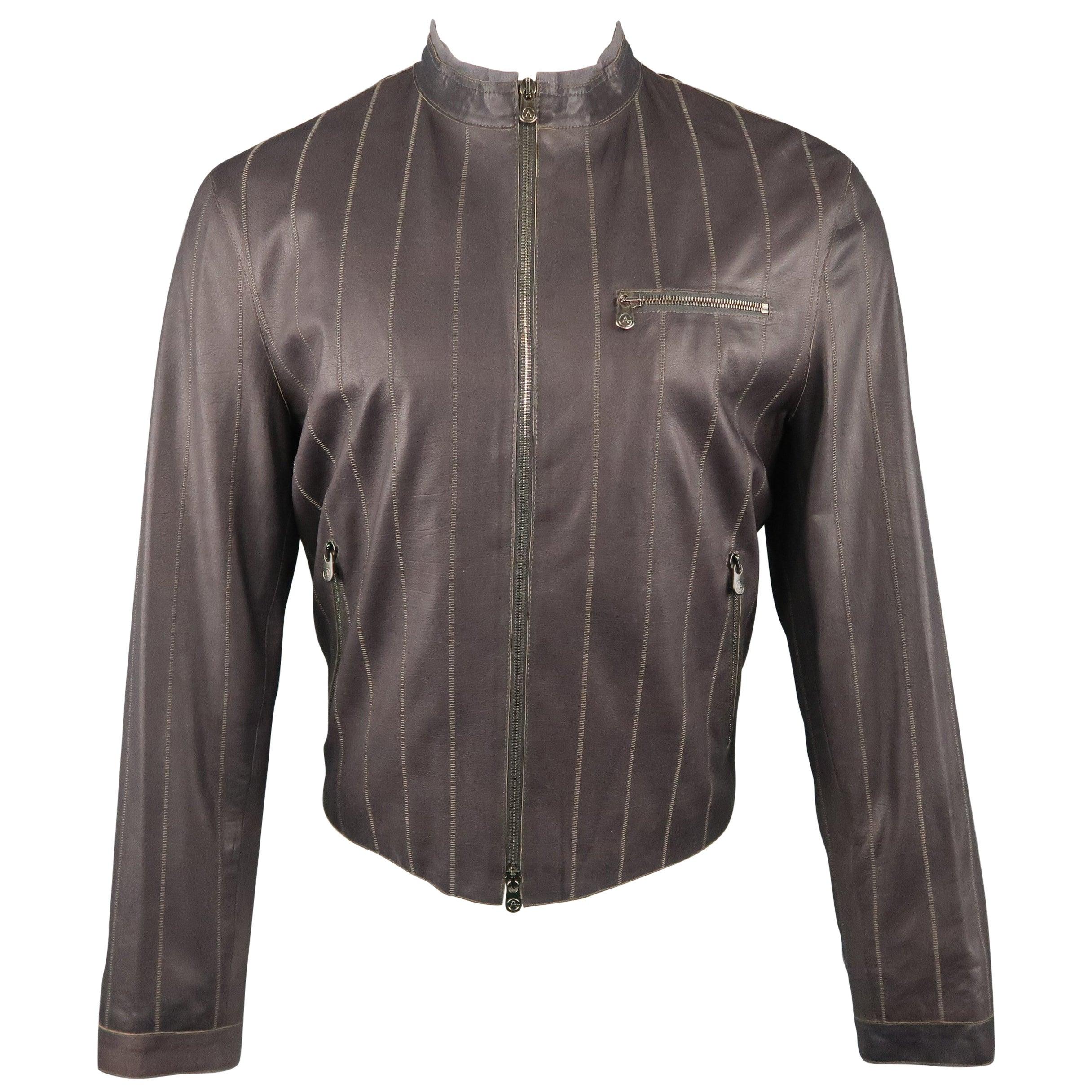 Men's ARMANI COLLEZIONI 40 Purple Stitched Leather Biker Jacket