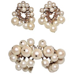 Circa 1960s William deLillo Faux-Pearl Bracelet and Earrings