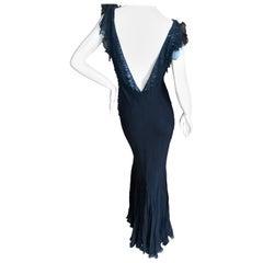 Christian Dior von John Galliano verführerisch niedriger Schnitt schräg geschnittenes schwarzes Seidenkleid