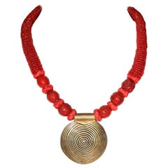 Coral Bead and Brass Pendant Necklace, Circa 1970s