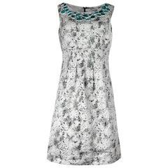 Lela Rose grau/Multicolor gedruckt ärmelloses Kleid W / umwickelte Stein Kragen Sz 6