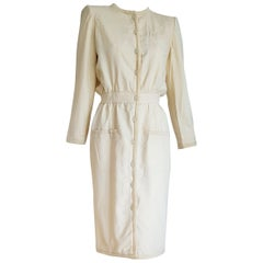 VALENTINO white cream silk and wool silk lined buttons dress - Unworn