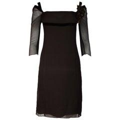 Ports 1961 Brown 3/4 Sleeve Sheer Dress W/ Velvet Trim & Ribbon Flower Sz 8