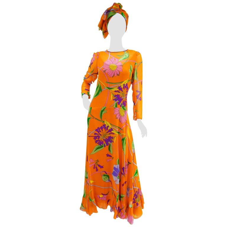 1970s Orange Floral Bias Cut Semi Sheer Dress with Oversized Shawl For Sale