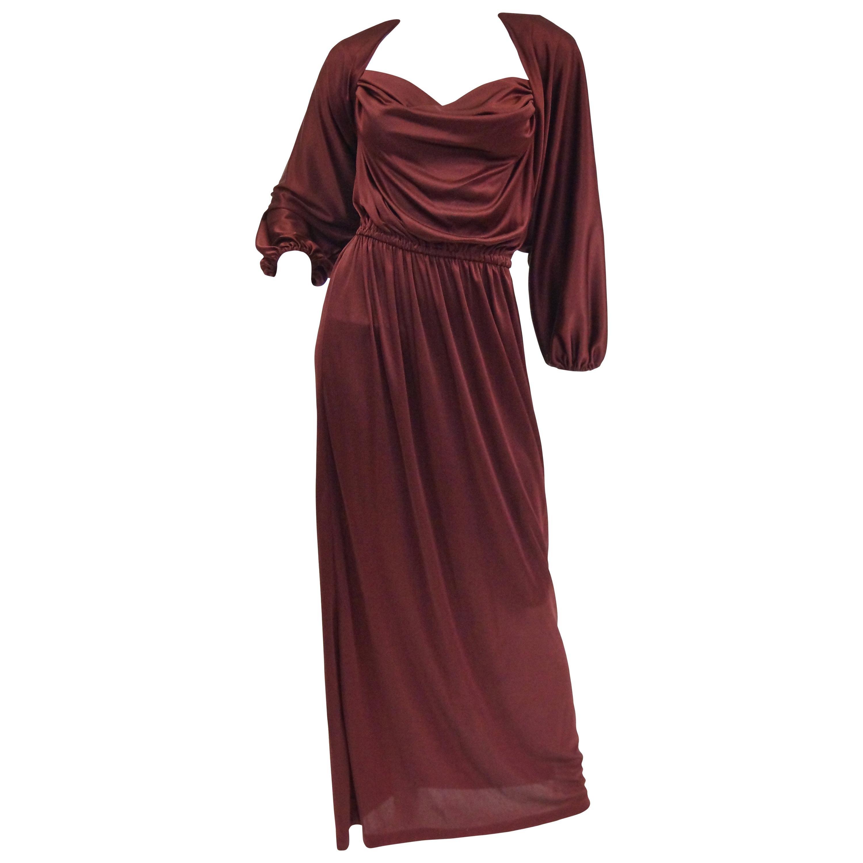 1970s Joy Stevens Tyrian Purple Draped Knit Evening Dress with Jacket