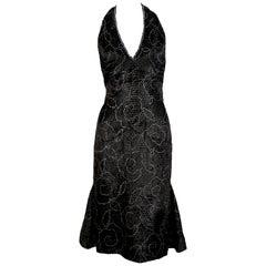 1960's PIERRE BALMAIN black velvet haute couture dress with rhinestones