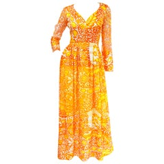 1960s Christian Dior Yellow, Orange and Red Floral Silk Maxi Dress
