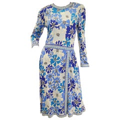 1970 Averardo Bessi Blue Floral Geometric Print Midi Dress