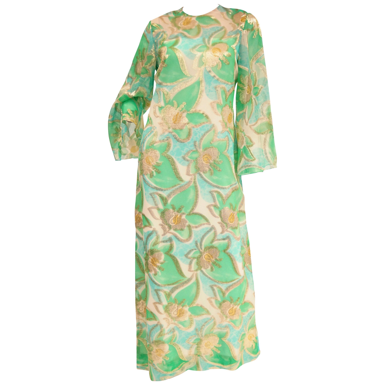 1960s Nat Kaplan Couture Green, Blue, and Gold Kaftan Dress