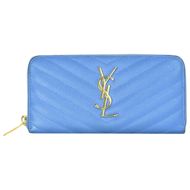 76db79da4a18 Saint Laurent Baby Blue Grain De Poudre Leather Chevron YSL Monogram Zip  Wallet For Sale