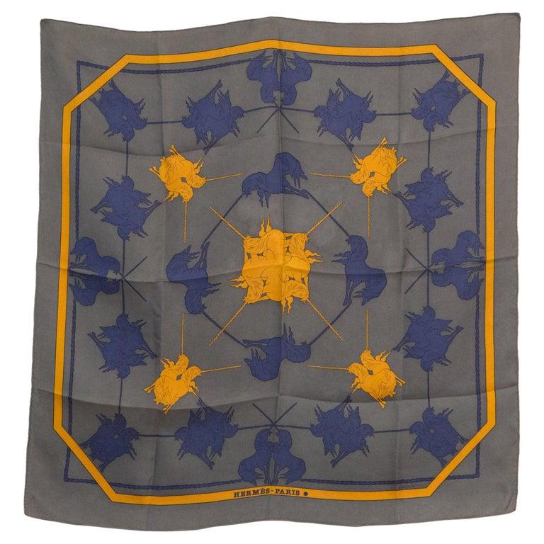 de2619949d0 Hermes Grey Unicorn Silk Scarf by Michel Duchene For Sale at 1stdibs