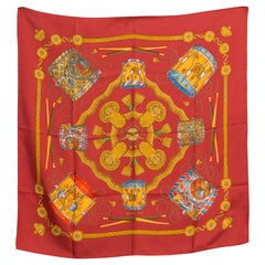 Hermes Red Silk Scarf Les Tambours