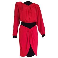 VALENTINO red with black velvet waistband collar and cuffs Silk dress - Unworn