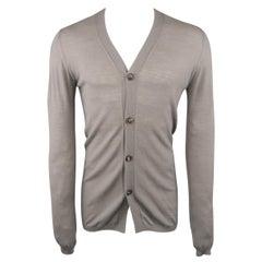 RICK OWENS Size M Taupe Grey Sheer Merino Wool V Neck Cardigan