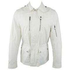 Men's RALPH LAUREN Black Label S White Cotton / Nylon Rain Parka Jacket
