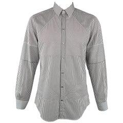Men's DOLCE & GABBANA Size L White & Black Stripe Patchwork Cotton Long Sleeve